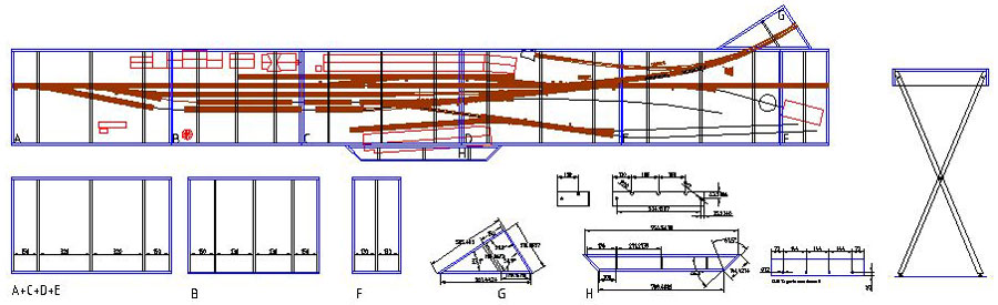 Arbejdstegning til Fremo-moduler for Sæby jernbanestation i H0