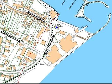 Kort over Sæby havn med den oprindelige kystlinie markeret