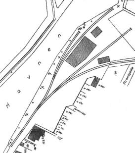 Tegning af jernbanesporene på havnen 1910