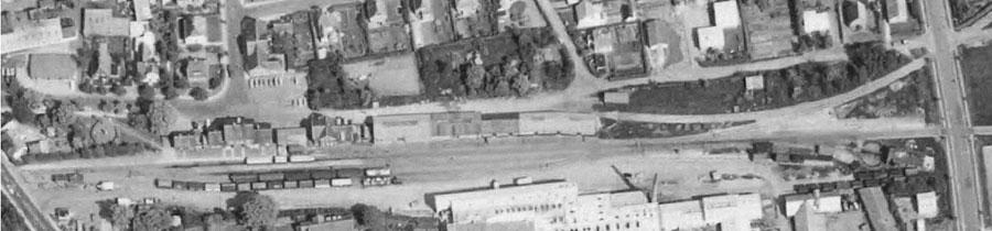 Luftfoto af Sæby stationsterræn