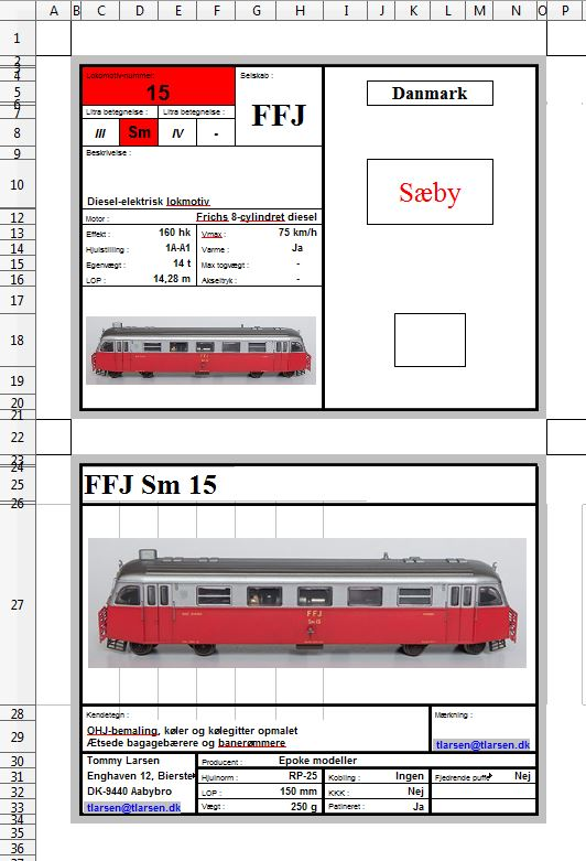 Vognkort for skinnebussen FFJ Sm 15