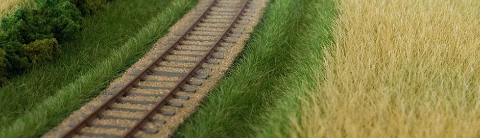 Stykke af modul med hvedemark og buske nær sporet